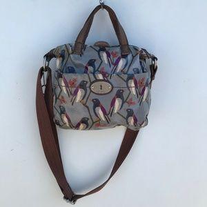 Fossil Key Per Bird Print Tote Crossbody Bag #845
